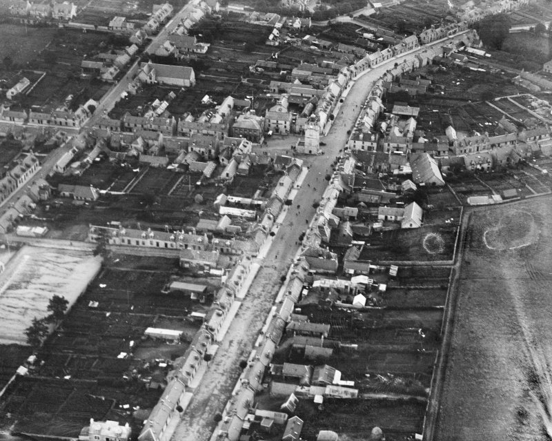Dufftown, general view, showing Conval Street and the Clock Tower.  Oblique aerial photograph taken facing east.