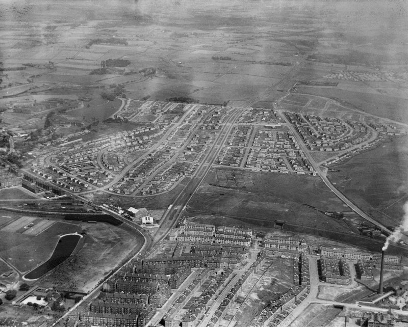 Carntyne Housing Estate and Haghill, Glasgow.  Oblique aerial photograph taken facing east.