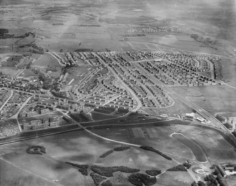 Carntyne Housing Estate and Alexandra Park, Glasgow.  Oblique aerial photograph taken facing south-east.