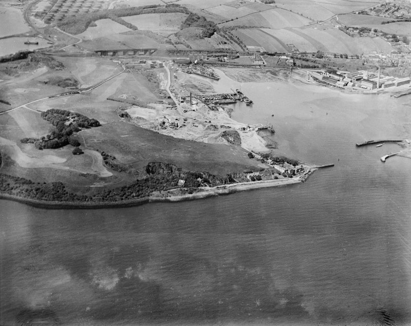 Tilbury Contracting and Dredging Co. Ltd. Quarry and Thomas Ward and Sons Shipbreaking Yard, Inverkeithing.  Oblique aerial photograph taken facing west.