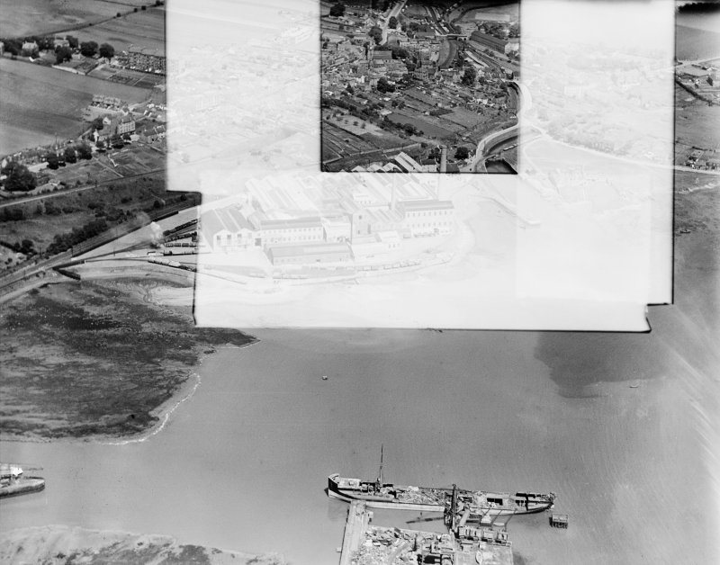 Caldwells Paper Mills, Inverkeithing.  Oblique aerial photograph taken facing north.  This image has been produced from a damaged negative.