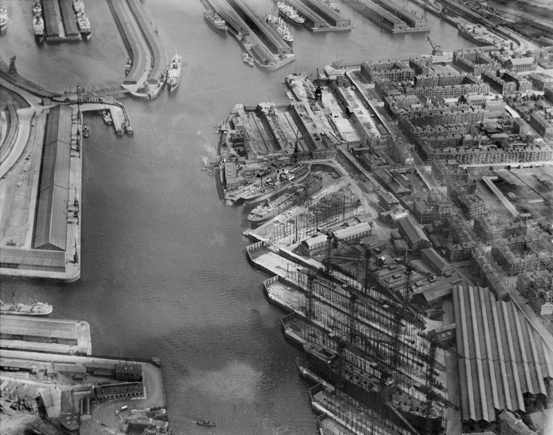 Yorkhill Quay and Harland and Wolff Shipbuilding Yard, Clydebrae Street, Govan, Glasgow.  Oblique aerial photograph taken facing south-east.