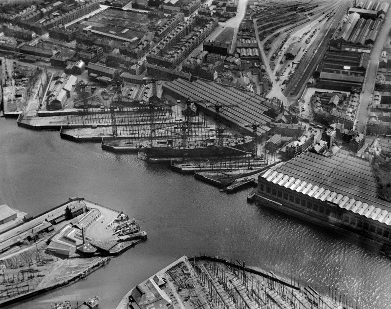 Harland and Wolff Shipbuilding Yard, Clydebrae Street, Govan, Glasgow.  Oblique aerial photograph taken facing south.