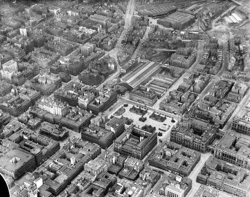 Glasgow, general view, showing George Square and West Nile Street.  Oblique aerial photograph taken facing north.
