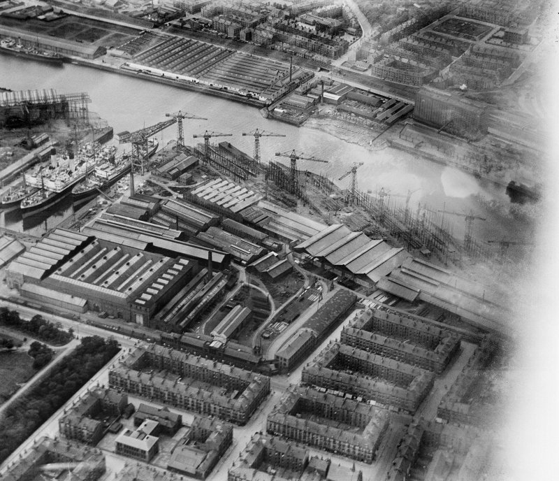 Meadowside Quay and Upper Clyde Shipbuilding Yard, Glasgow.  Oblique aerial photograph taken facing north.