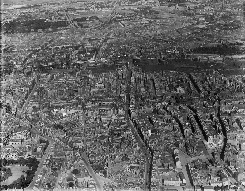 Edinburgh, general view, showing Nicholson Street and Waverley Station.  Oblique aerial photograph taken facing north.