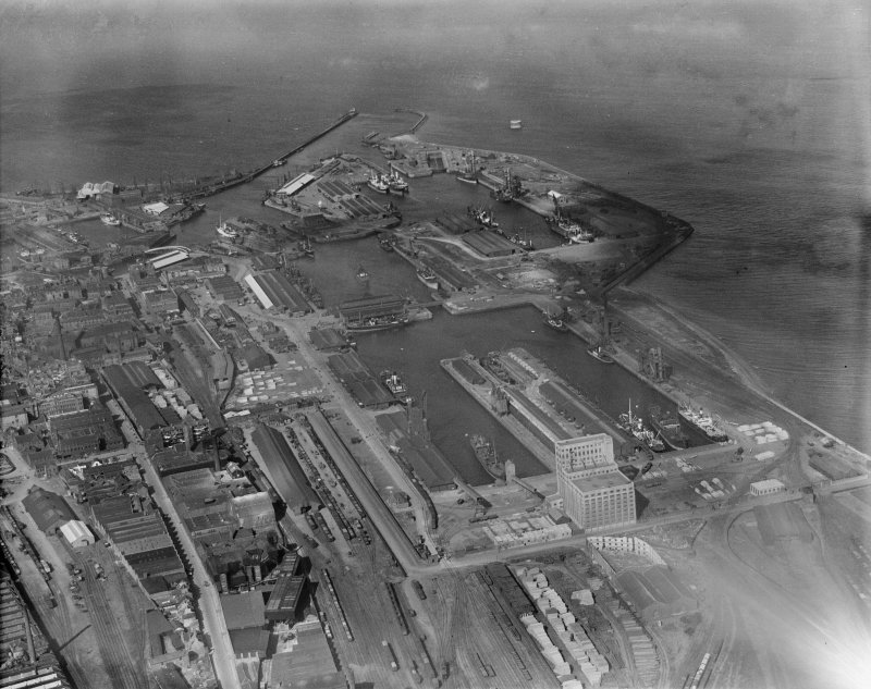 Leith Docks, Edinburgh.  Oblique aerial photograph taken facing north.