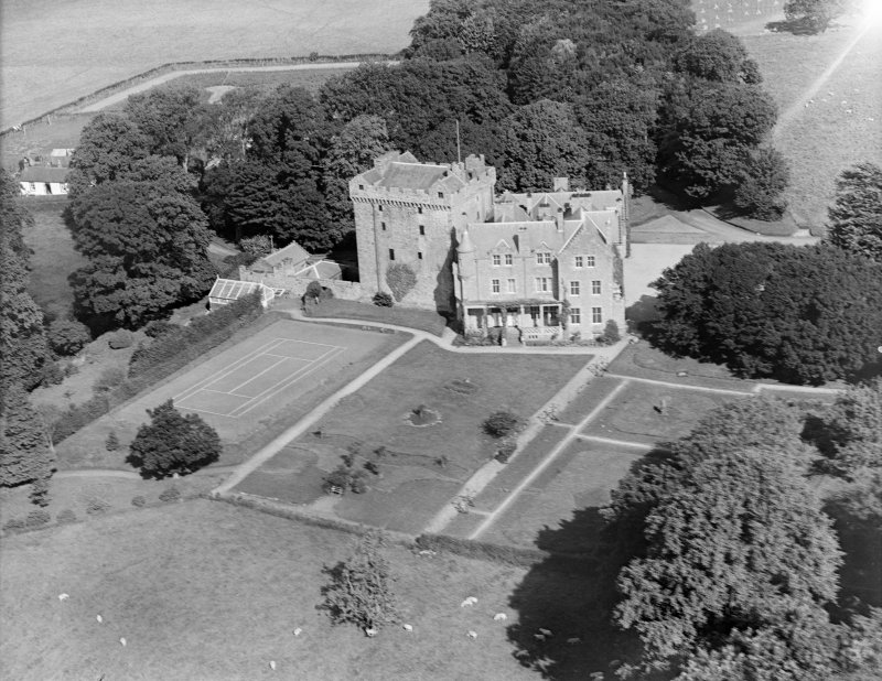 Comlongon Castle, Clarencefield.  Oblique aerial photograph taken facing north.