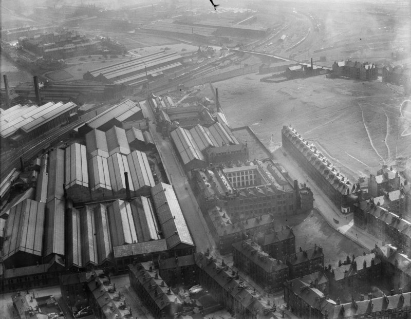 Glasgow, general view, showing Craigpark Electric Cable Co. Ltd. Works, Flemington Street, and North British Locomotive Co. building.  Oblique aerial photograph taken facing south-east.