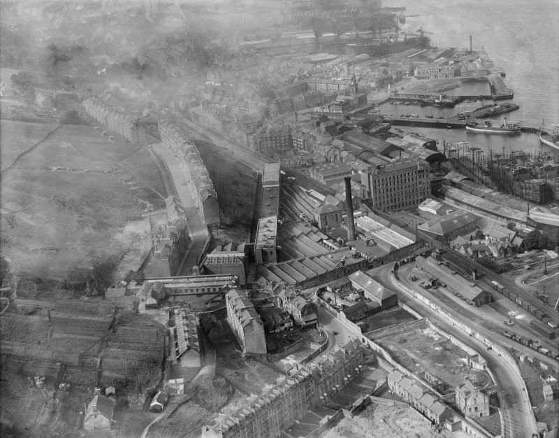 Port Glasgow, general view, showing Gourock Ropework Co. Ltd., Bay Street and Bouverie Street.  Oblique aerial photograph taken facing north-west.