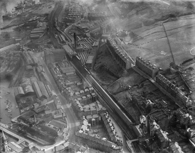 Port Glasgow, general view, showing Gourock Ropework Co. Ltd., Bay Street and Greenock Road.  Oblique aerial photograph taken facing east.