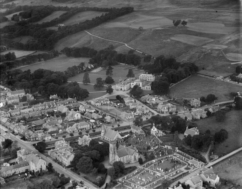 Dollar Academy and Parish Church of St Columba, Dollar.  Oblique aerial photograph taken facing west.