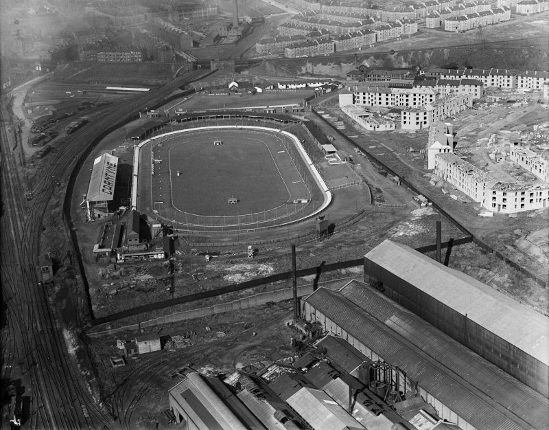 Carntyne Greyhound Racecourse, Myreside Street, Glasgow.  Oblique aerial photograph taken facing north-west.