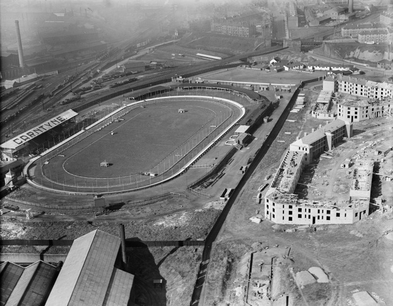 Carntyne Greyhound Racecourse, Myreside Street, Glasgow.  Oblique aerial photograph taken facing west.