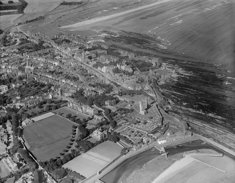 St Andrews, general view, showing St Andrews Cathedral and St Leonard's School.  Oblique aerial photograph taken facing north.
