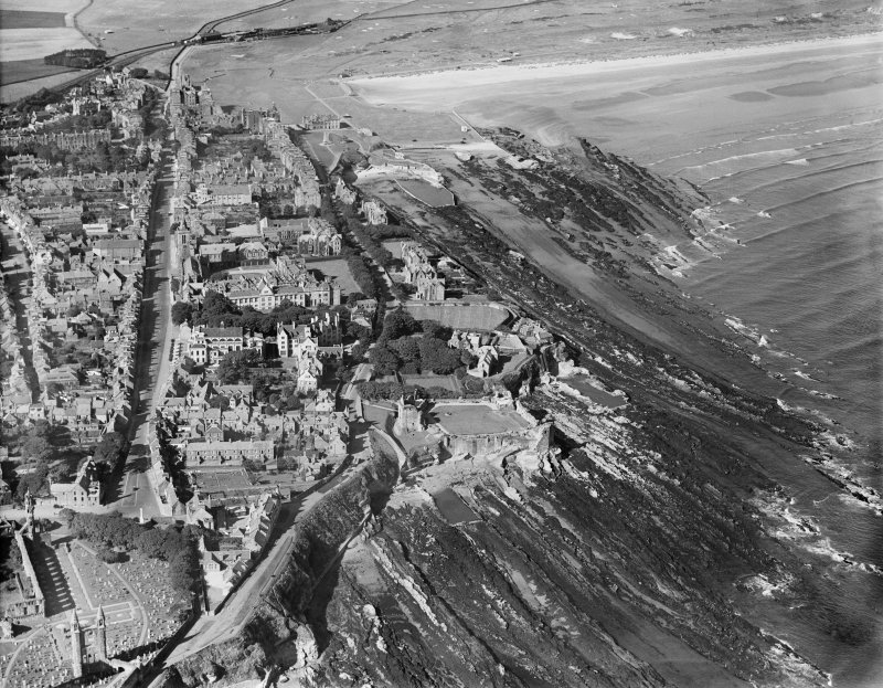 St Andrews, general view, showing Castlecliff House, The Scores and St Andrews Castle.  Oblique aerial photograph taken facing west.