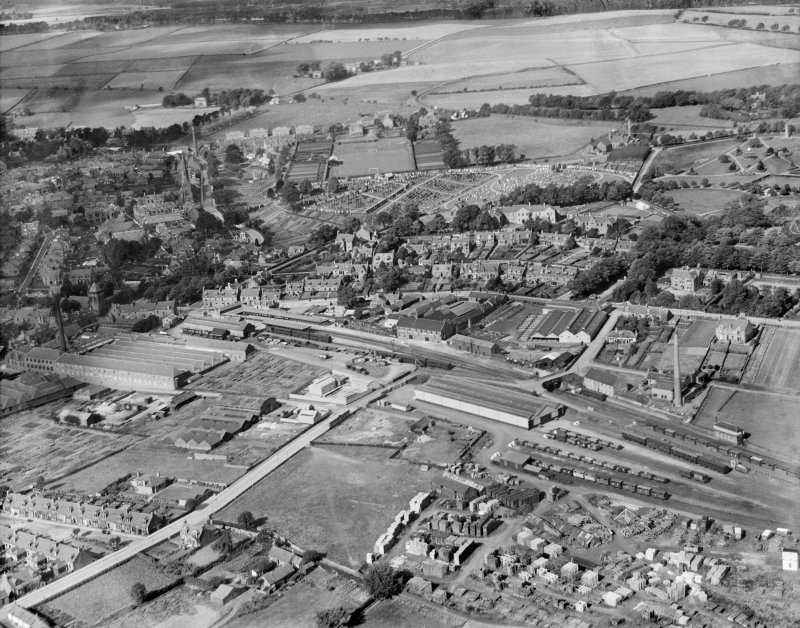 Brechin, general view, showing Railway Terminus and Glebe Park.  Oblique aerial photograph taken facing north.