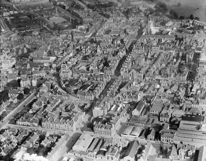 Perth, general view, showing Scott Street and Victoria Street.  Oblique aerial photograph taken facing north.