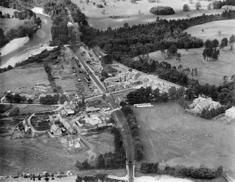Blair Atholl, general view, showing Village Hall and Blair Atholl Station.  Oblique aerial photograph taken facing north-west.