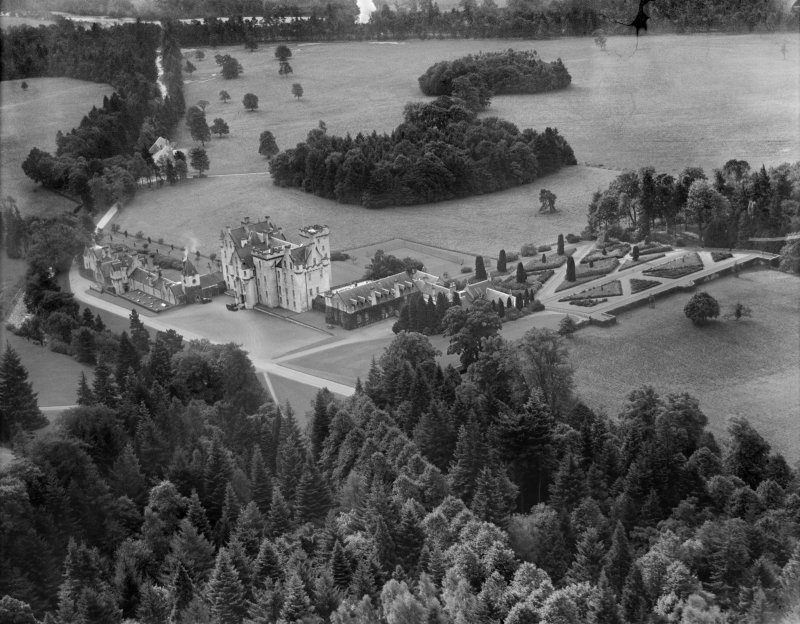 Blair Castle, Blair Atholl.  Oblique aerial photograph taken facing south.