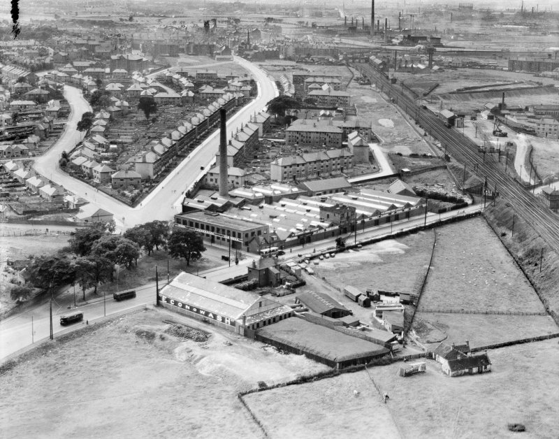 Glasgow, general view, showing Richmond Park Laundry, Cambuslang Road and Hamilton Road.  Oblique aerial photograph taken facing west.