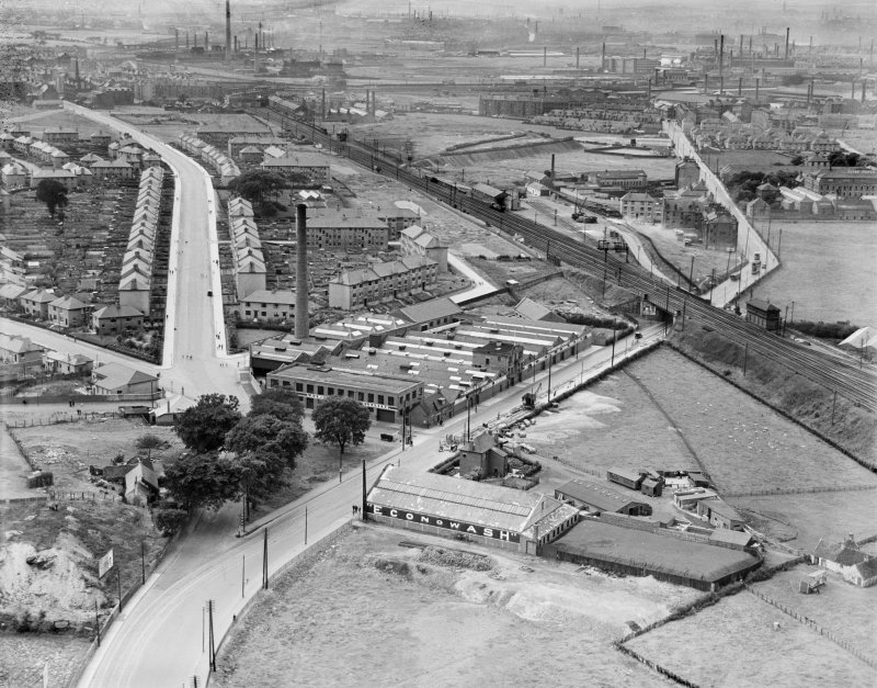 Glasgow, general view, showing Richmond Park Laundry, Cambuslang Road and Main Street.  Oblique aerial photograph taken facing north-west.