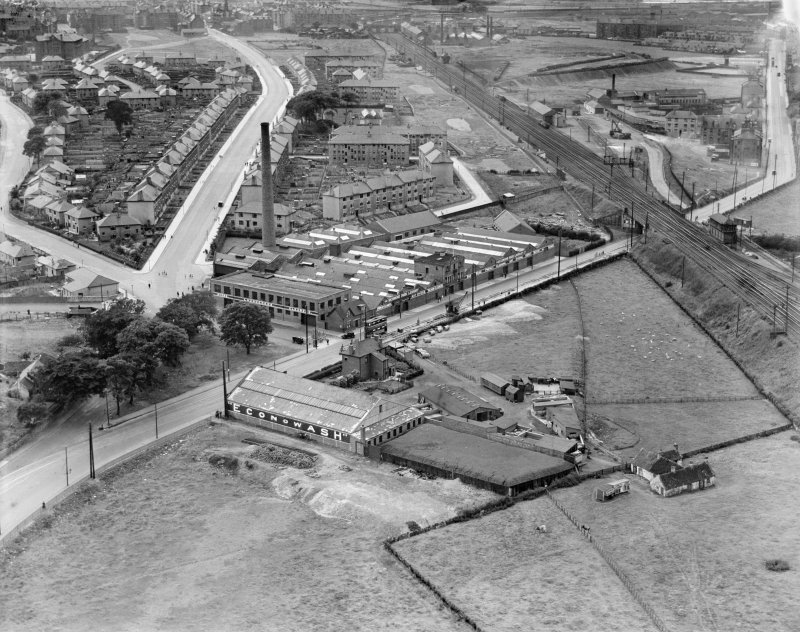 Glasgow, general view, showing Richmond Park Laundry, Cambuslang Road and Main Street.  Oblique aerial photograph taken facing west.