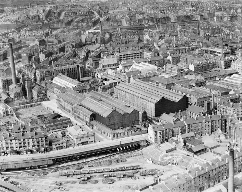 Glasgow, general view, showing Duncan Stewart and Co. London Road Ironworks, Summer Street and Gallowgate.  Oblique aerial photograph taken facing north.