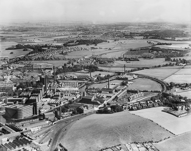 Clark and Co. Anchor Mills Thread Works, Paisley.  Oblique aerial photograph taken facing east.