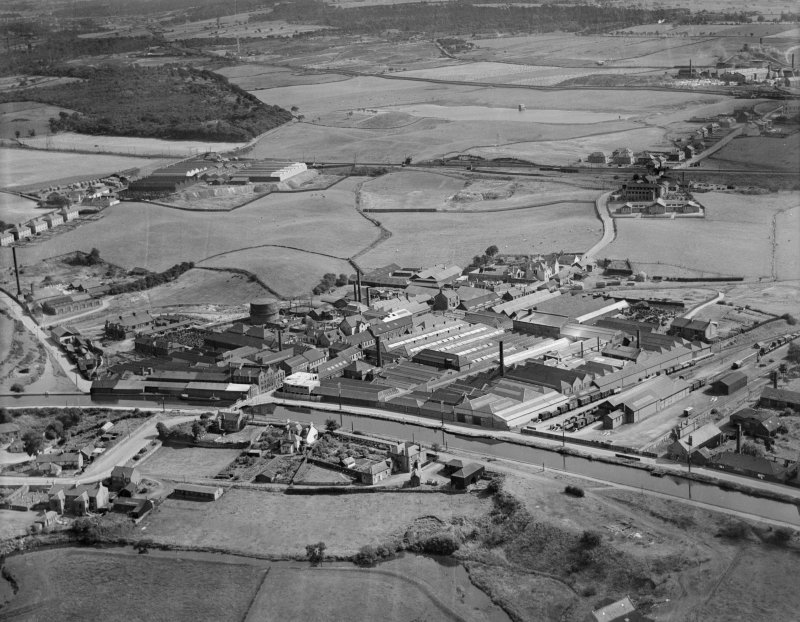 Smith and Wellstood Ltd. Columbian Stove Works, Bonnybridge.  Oblique aerial photograph taken facing east.