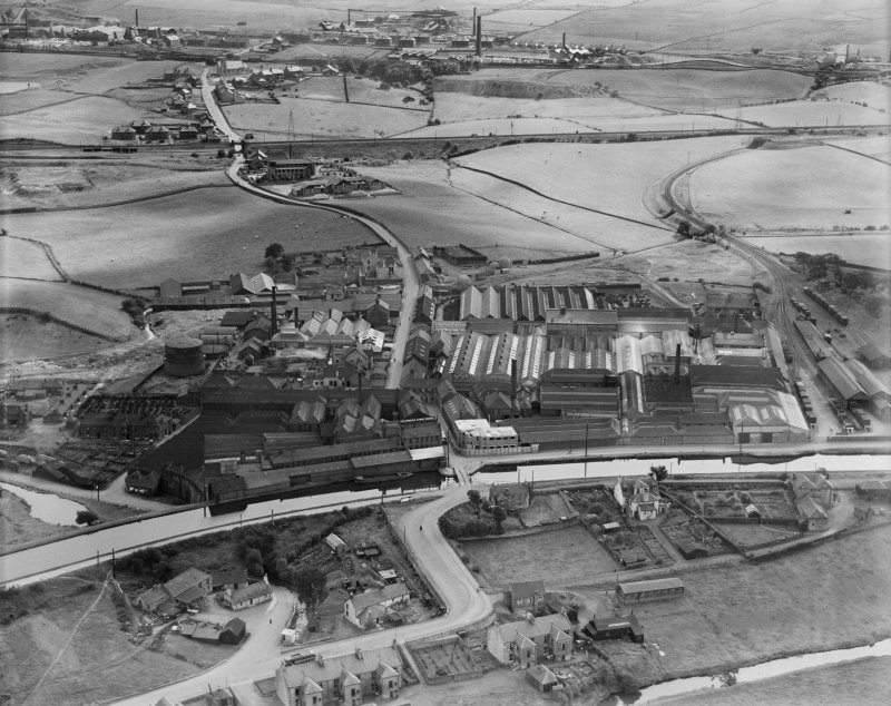 Smith and Wellstood Ltd. Columbian Stove Works, Bonnybridge.  Oblique aerial photograph taken facing south-east.