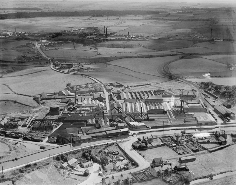 Smith and Wellstood Ltd. Columbian Stove Works, Bonnybridge.  Oblique aerial photograph taken facing south.