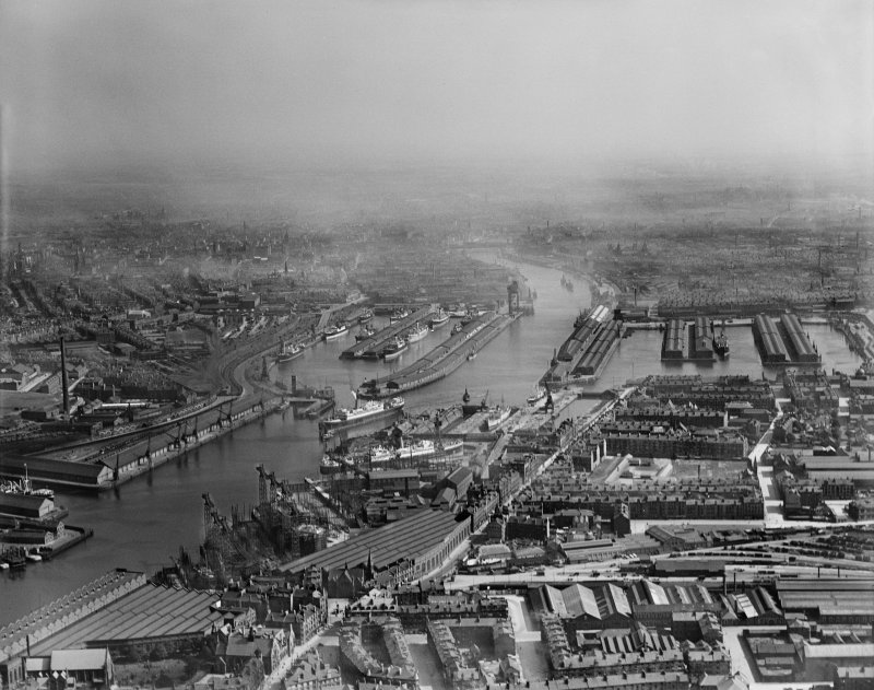 Glasgow, general view, showing Queen's and Prince's Docks and Govan Road.  Oblique aerial photograph taken facing east.