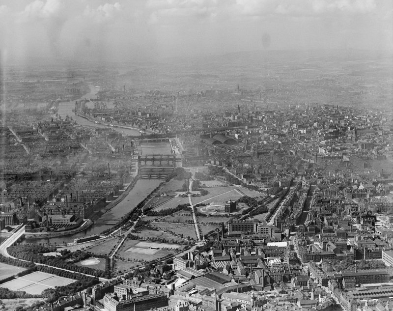 Glasgow, general view, showing Glasgow Green and St Enoch Station.  Oblique aerial photograph taken facing west.