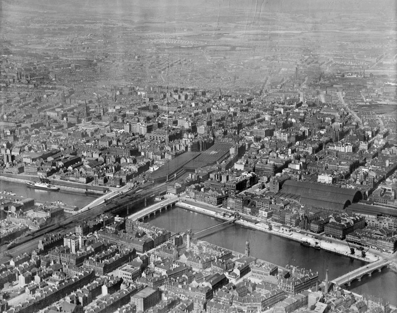 Glasgow, general view, showing Central Station and St Enoch Station.  Oblique aerial photograph taken facing north.
