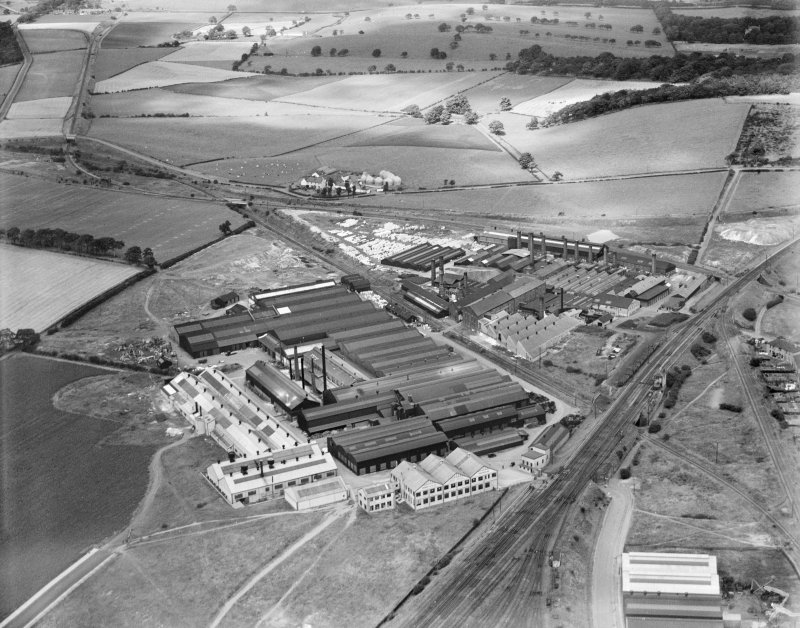 Shanks and Co. Ltd. Tubal Works, Victoria Road, Barrhead.  Oblique aerial photograph taken facing north.