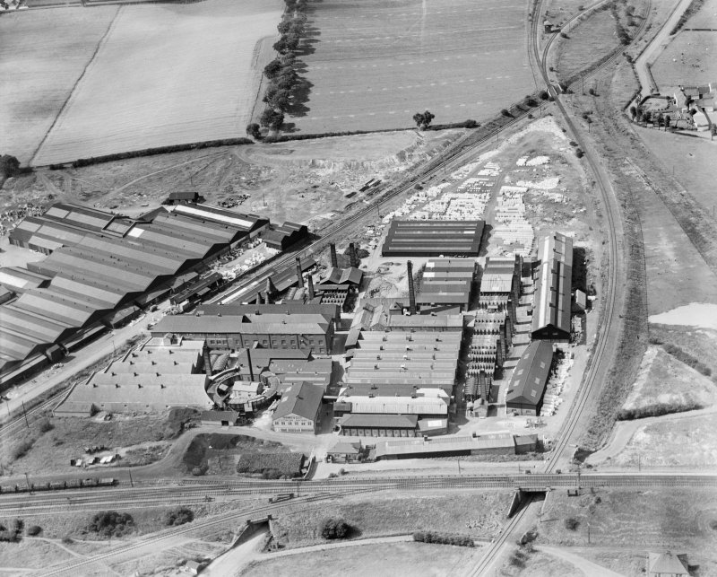 Shanks and Co. Ltd. Tubal Works, Victoria Road, Barrhead.  Oblique aerial photograph taken facing north-west.