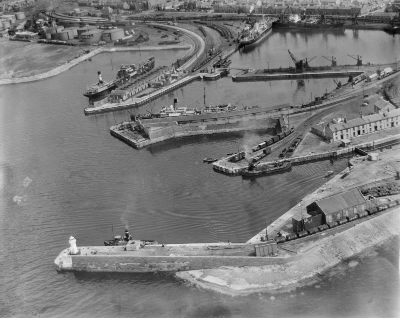 Ardrossan Harbour.  Oblique aerial photograph taken facing east.