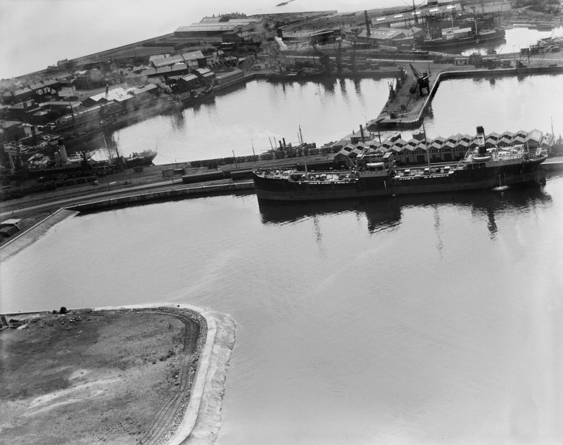 Montgomerie Pier and Inner Harbour, Ardrossan.  Oblique aerial photograph taken facing south.