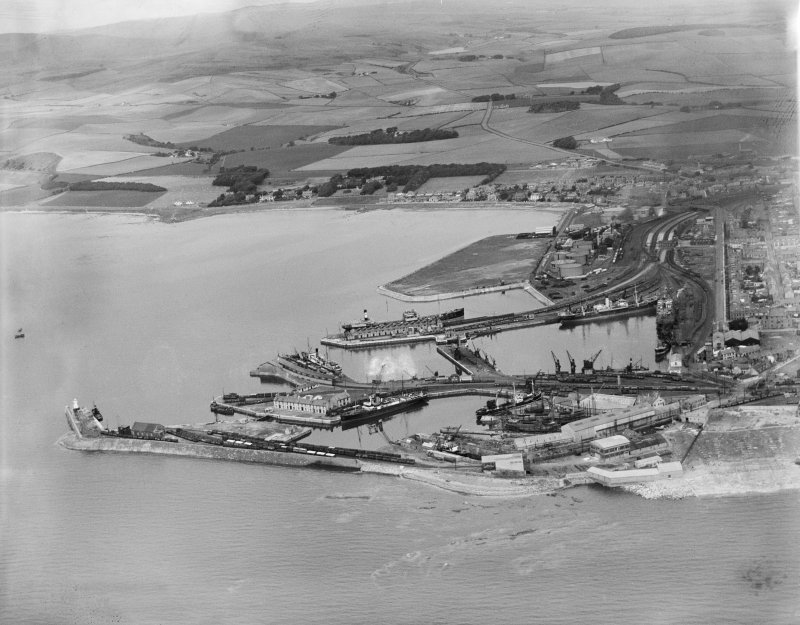 Ardrossan Harbour.  Oblique aerial photograph taken facing north.