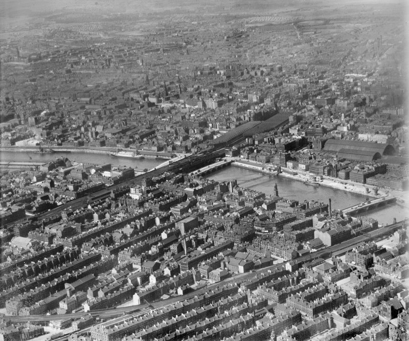 Glasgow, general view, showing Glasgow Bridge and Central Station.  Oblique aerial photograph taken facing north.
