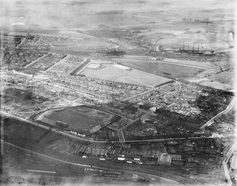 Coatbridge, general view, showing Cliftonhill Stadium and Dunbeth Public Park.  Oblique aerial photograph taken facing north.