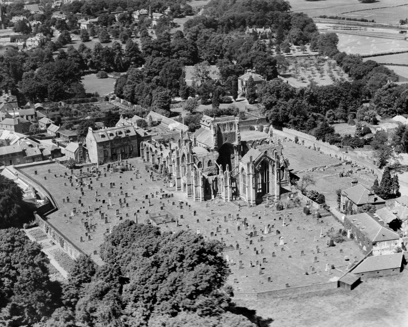 Melrose Abbey.  Oblique aerial photograph taken facing north-west.