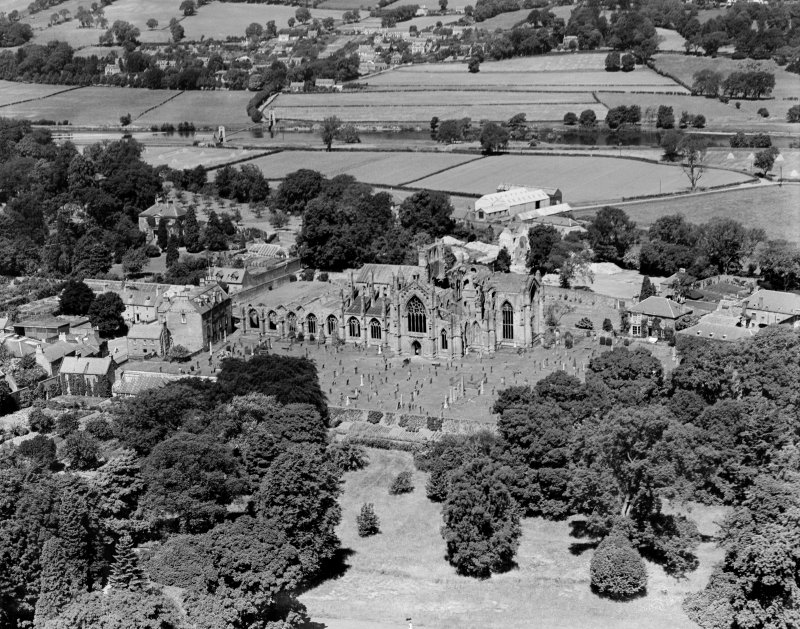 Melrose Abbey.  Oblique aerial photograph taken facing north.