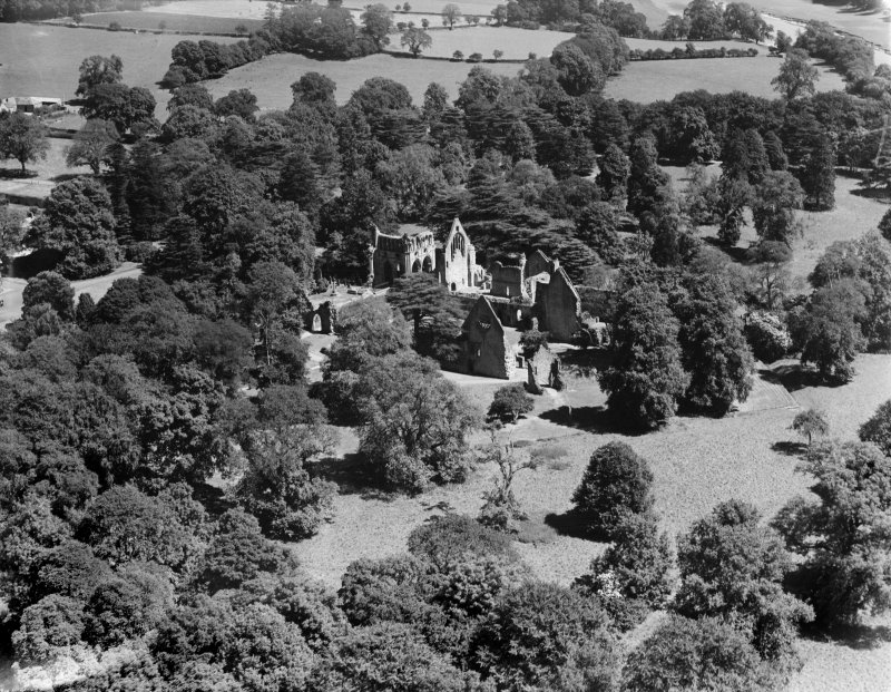 Dryburgh Abbey.  Oblique aerial photograph taken facing north-east.