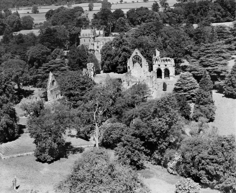 Dryburgh Abbey.  Oblique aerial photograph taken facing north.
