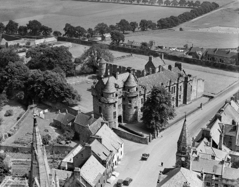 Falkland Palace.  Oblique aerial photograph taken facing north-east.