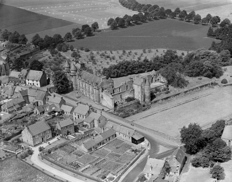 Falkland Palace.  Oblique aerial photograph taken facing north-west.