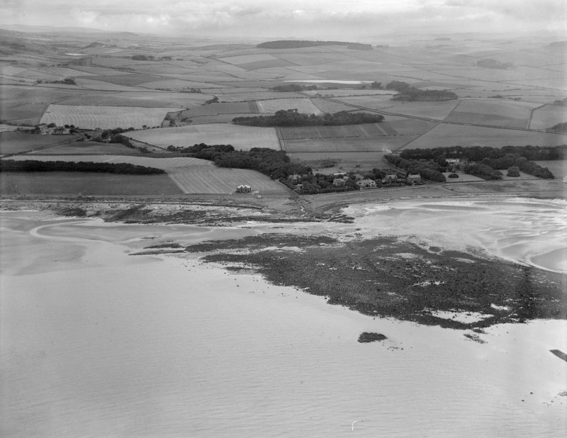 Ardrossan, general view, showing Eglinton Road and Burnfoot Bridge.  Oblique aerial photograph taken facing north-east.