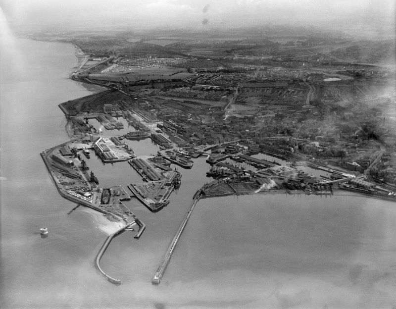 Edinburgh, general view, showing Leith Docks and Leith Links.  Oblique aerial photograph taken facing south.